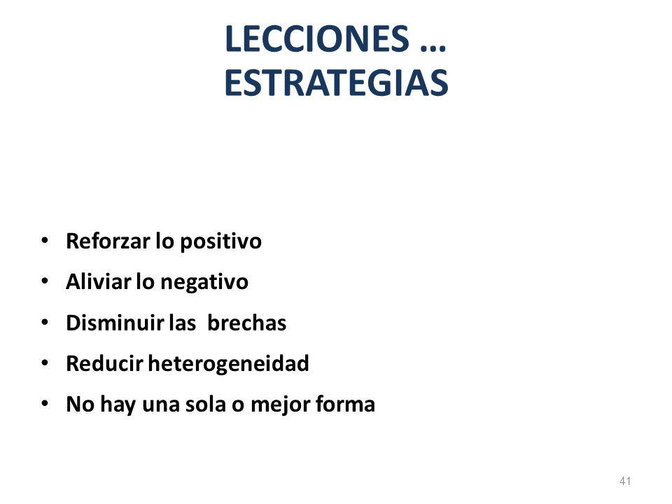LECCIONES … ESTRATEGIAS