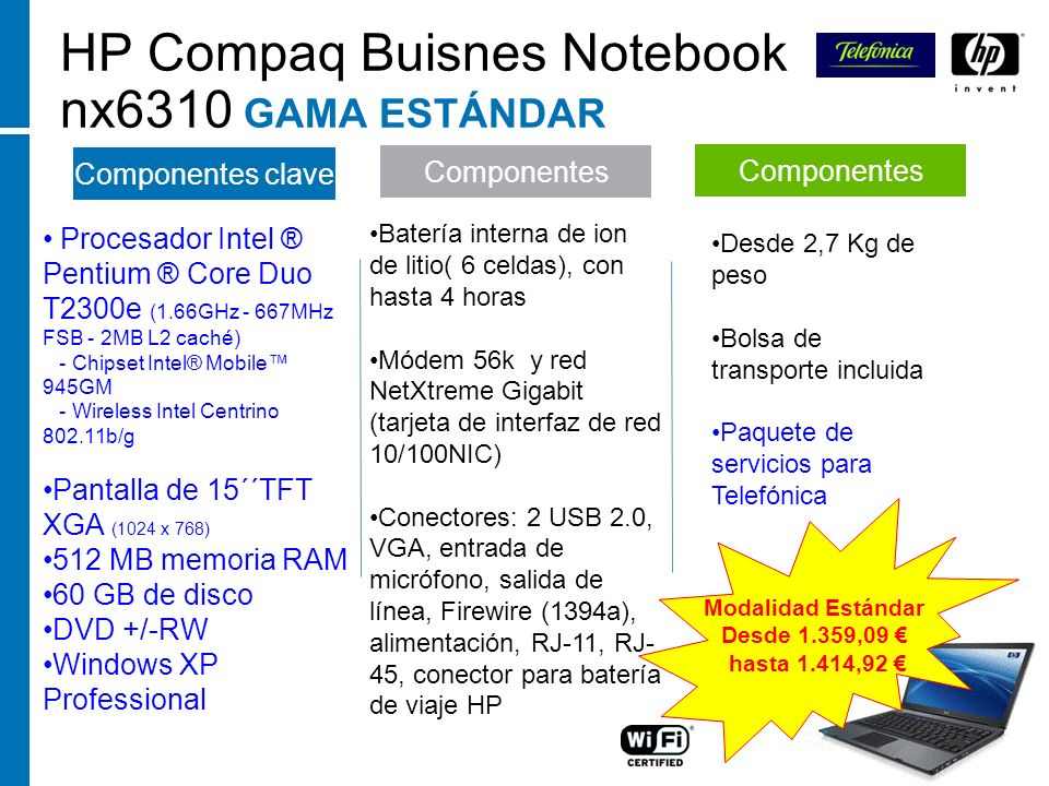 HP Compaq Buisnes Notebook nx6310 GAMA ESTÁNDAR