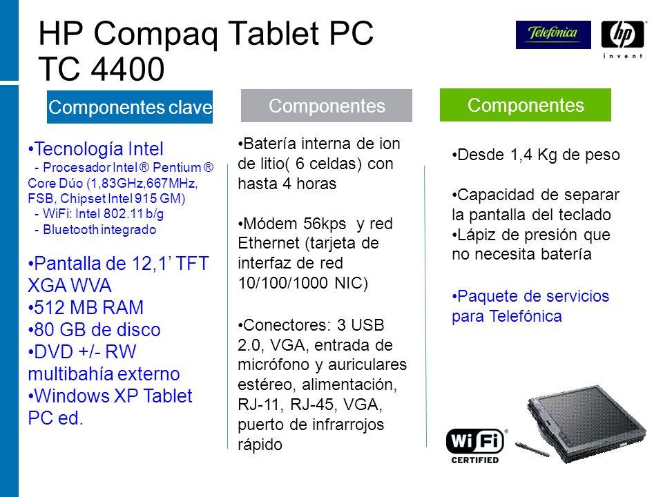 HP Compaq Tablet PC TC 4400 Componentes clave Componentes Componentes
