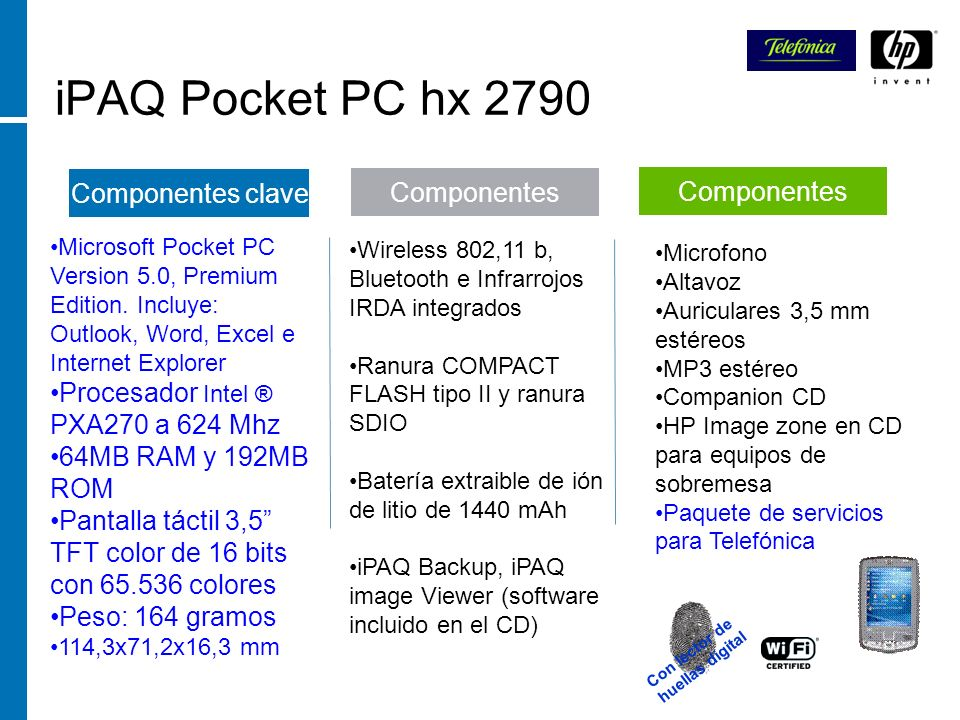 iPAQ Pocket PC hx 2790 Componentes clave Componentes Componentes