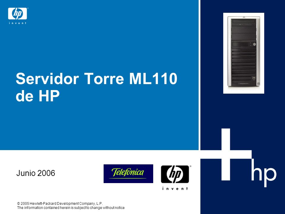 Servidor Torre ML110 de HP Junio 2006