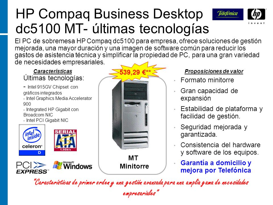 HP Compaq Business Desktop dc5100 MT- últimas tecnologías