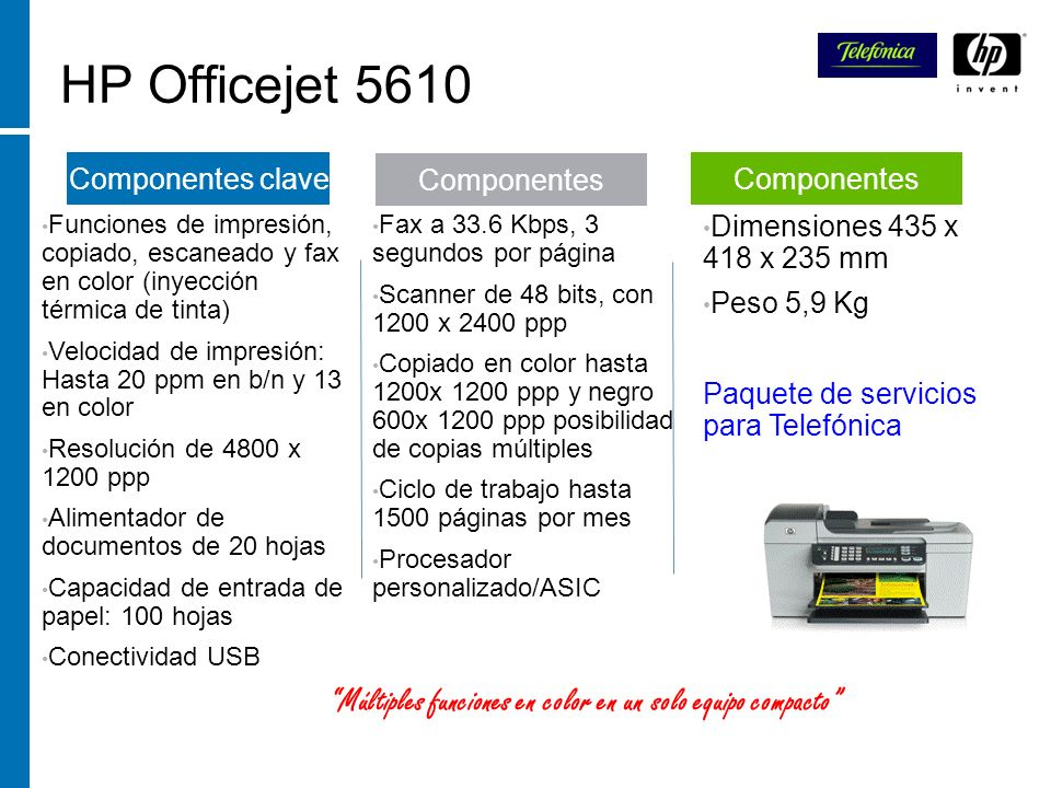 HP Officejet 5610 Funciones de impresión, copiado, escaneado y fax en color (inyección térmica de tinta)