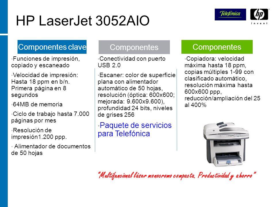 HP LaserJet 3052AIO Funciones de impresión, copiado y escaneado. Velocidad de impresión: Hasta 18 ppm en b/n. Primera página en 8 segundos.