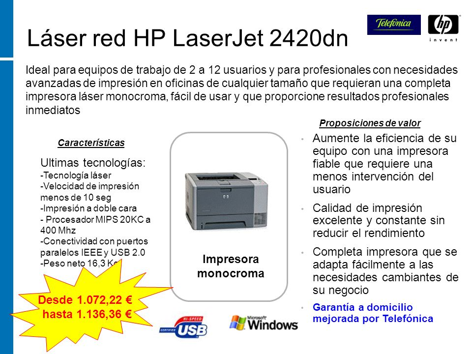 Láser red HP LaserJet 2420dn