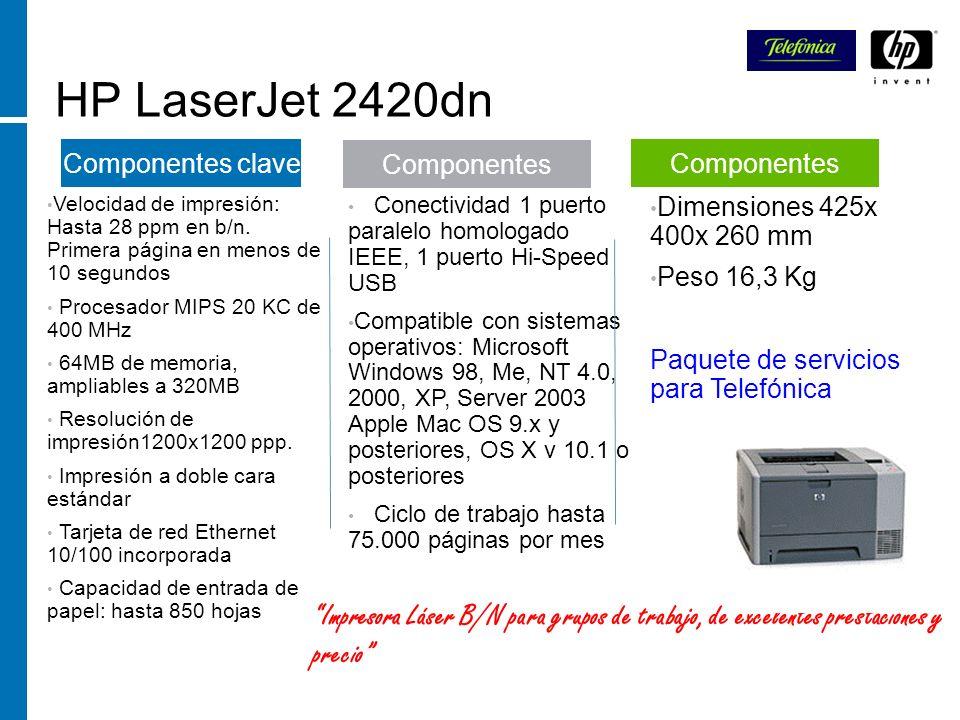 HP LaserJet 2420dn Velocidad de impresión: Hasta 28 ppm en b/n. Primera página en menos de 10 segundos.