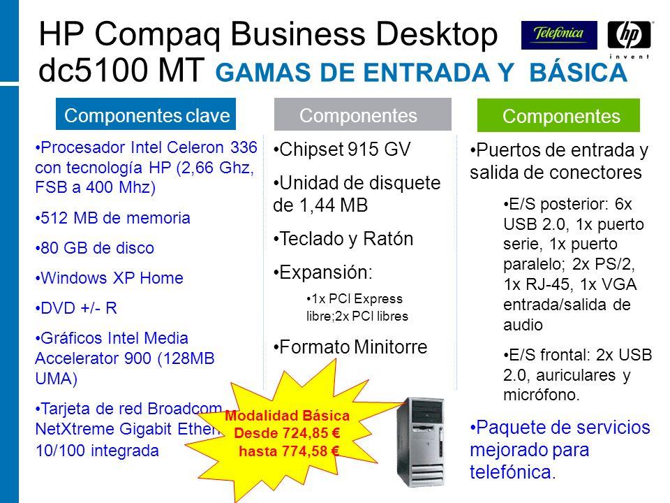 HP Compaq Business Desktop dc5100 MT GAMAS DE ENTRADA Y BÁSICA