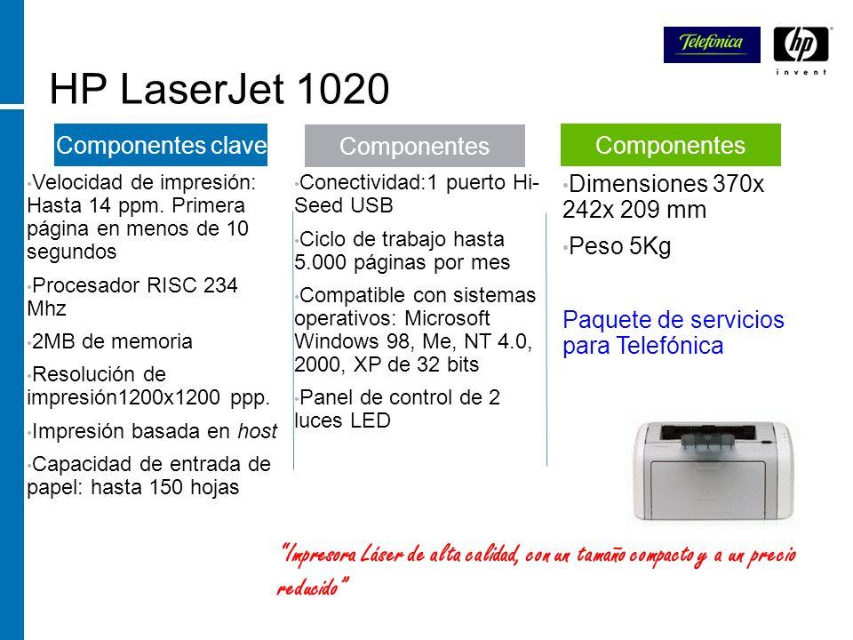 HP LaserJet 1020Velocidad de impresión: Hasta 14 ppm. Primera página en menos de 10 segundos.