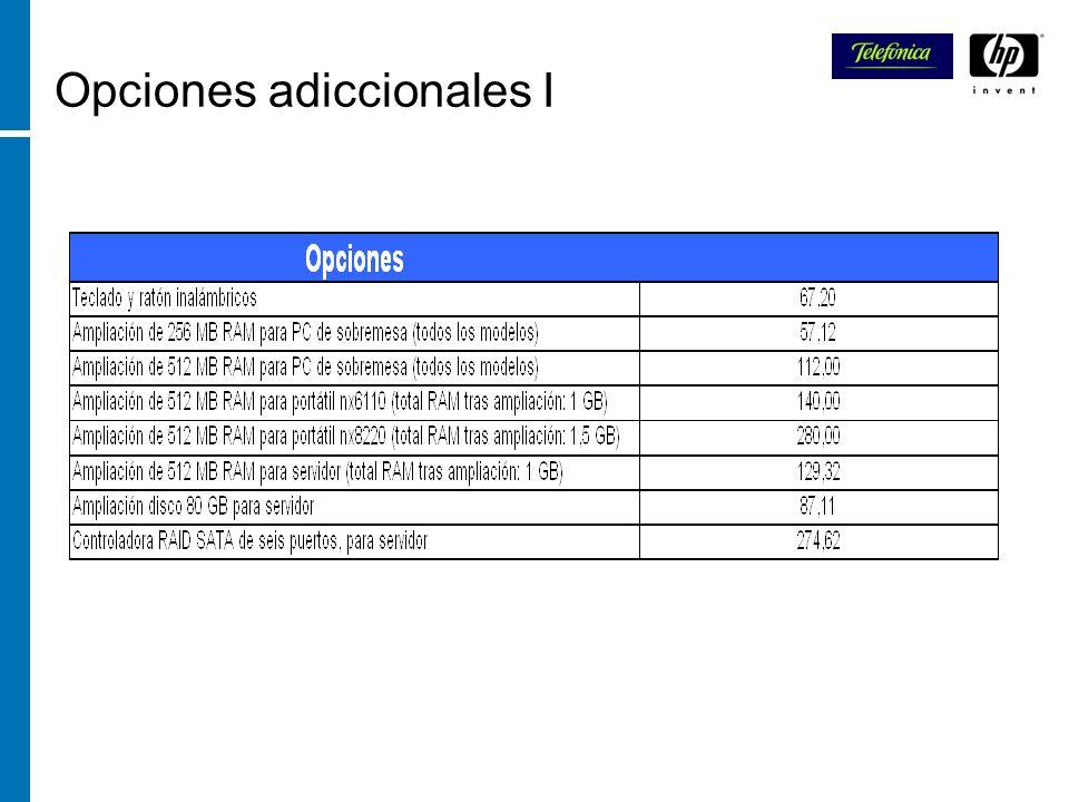 Opciones adiccionales I
