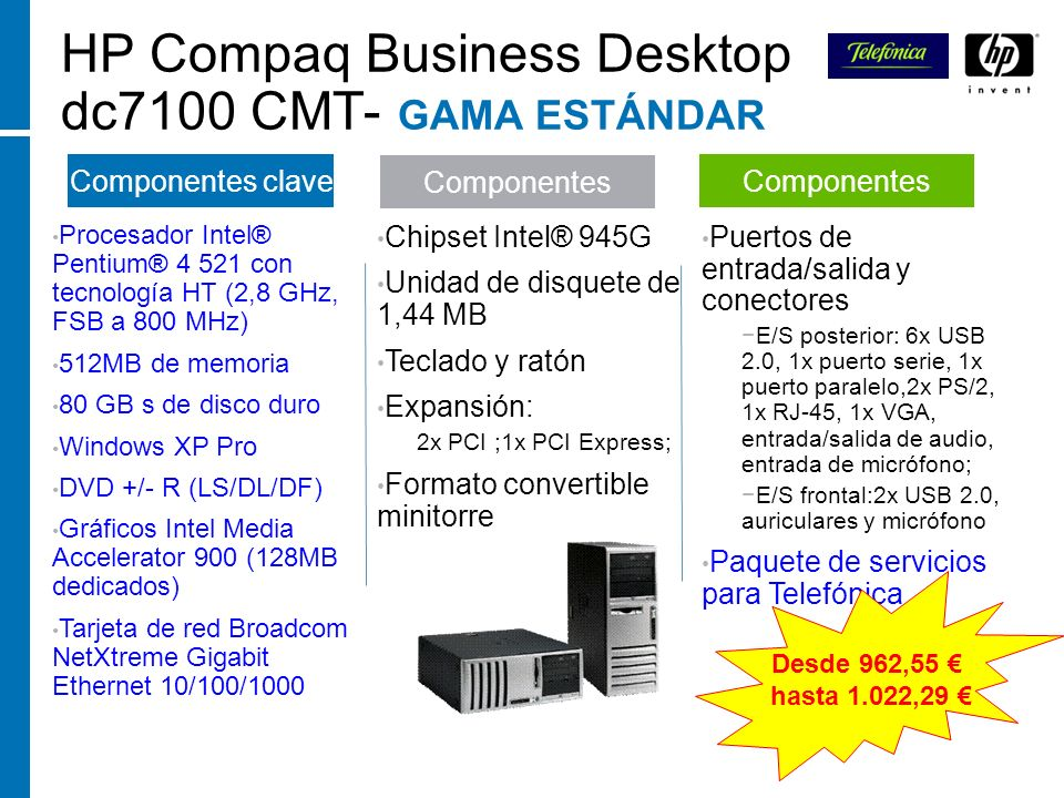 HP Compaq Business Desktop dc7100 CMT- GAMA ESTÁNDAR