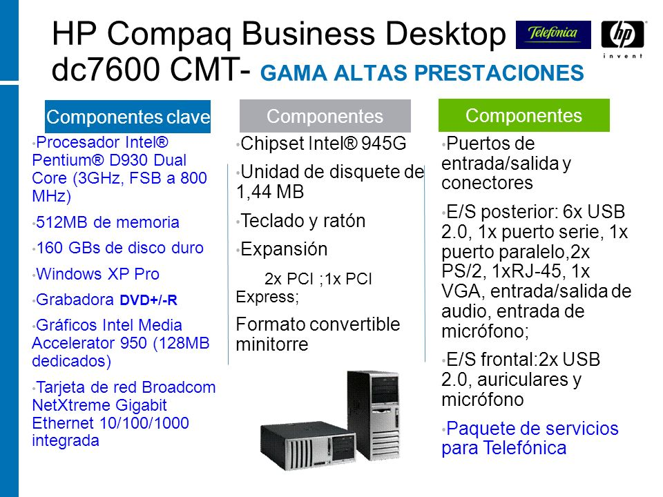 HP Compaq Business Desktop dc7600 CMT- GAMA ALTAS PRESTACIONES