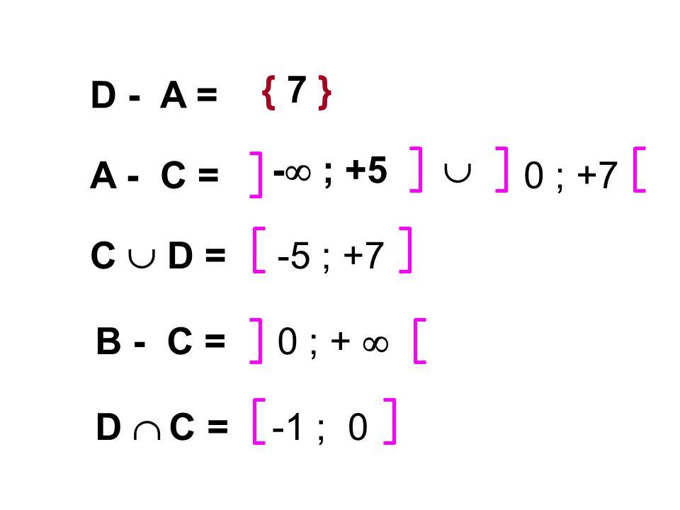 { 7 } D - A = - ; +5  A - C = 0 ; +7 C  D = -5 ; +7 B - C = 0 ; +  D  C = -1 ; 0