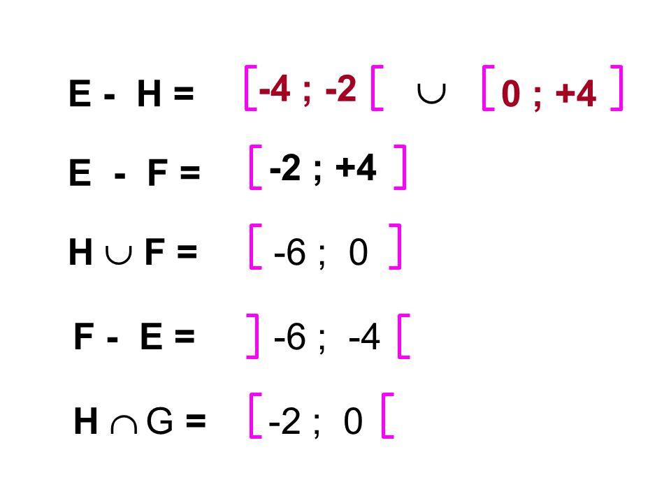  -4 ; -2 E - H = 0 ; +4 -2 ; +4 E - F = H  F = -6 ; 0 F - E =