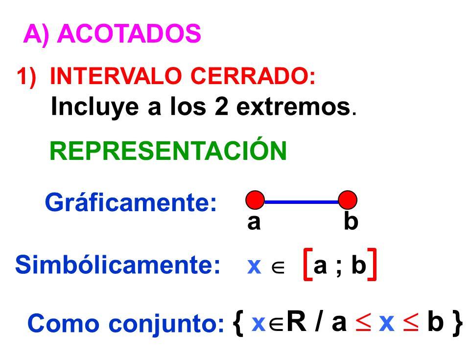 { xR / a  x  b } A) ACOTADOS Incluye a los 2 extremos.