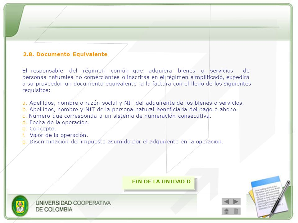 2.8. Documento Equivalente