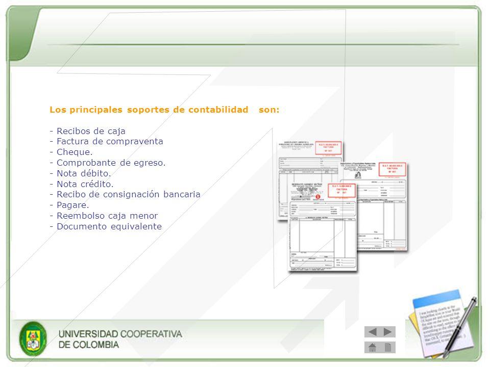 Los principales soportes de contabilidad son: