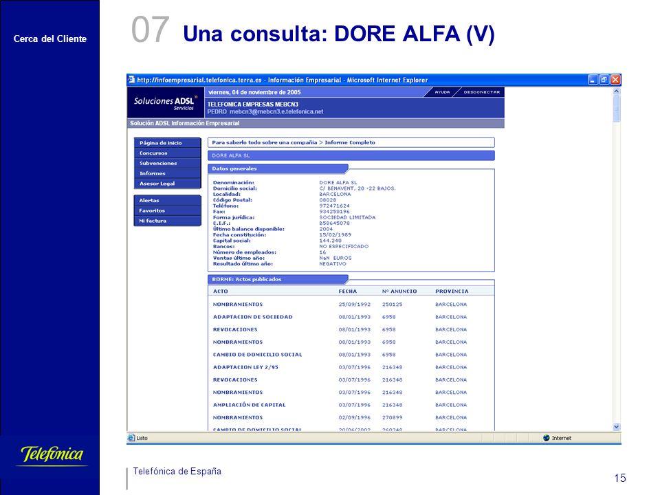 07 Una consulta: DORE ALFA (V)
