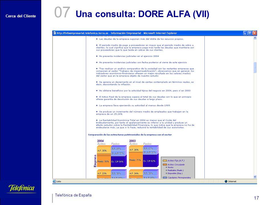 07 Una consulta: DORE ALFA (VII)