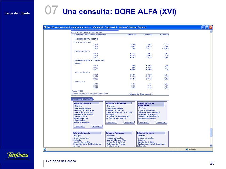 07 Una consulta: DORE ALFA (XVI)