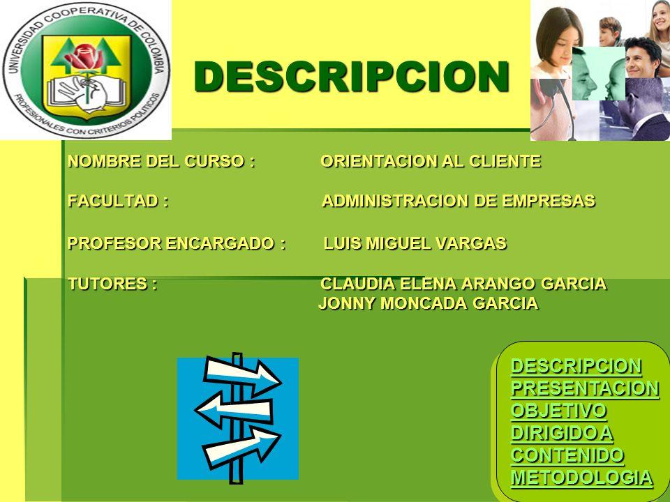 DESCRIPCION DESCRIPCION PRESENTACION OBJETIVO DIRIGIDO A CONTENIDO