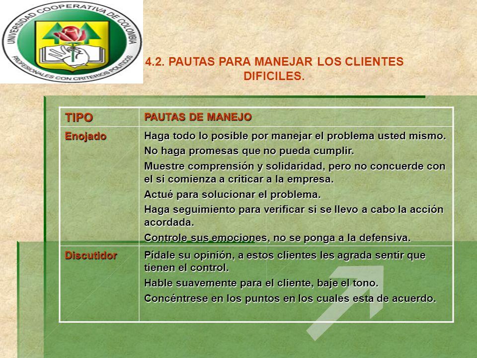 4.2. PAUTAS PARA MANEJAR LOS CLIENTES DIFICILES.