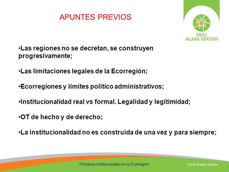 Procesos institucionales en la Ecorregión