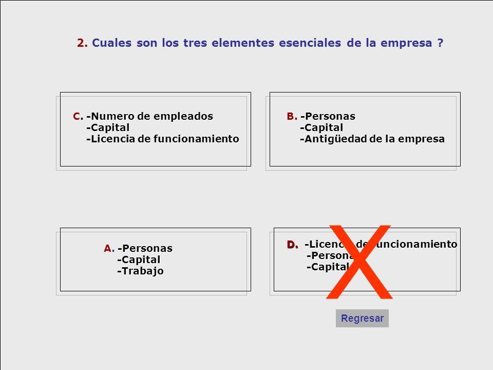 X 2. Cuales son los tres elementes esenciales de la empresa