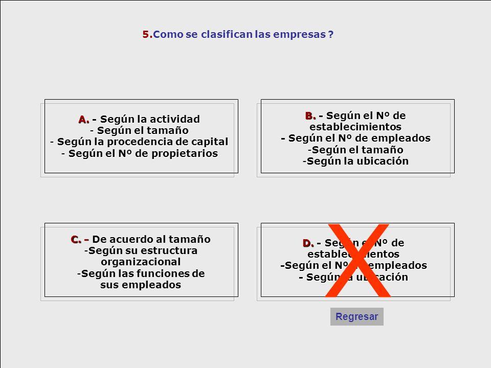 X 5.Como se clasifican las empresas