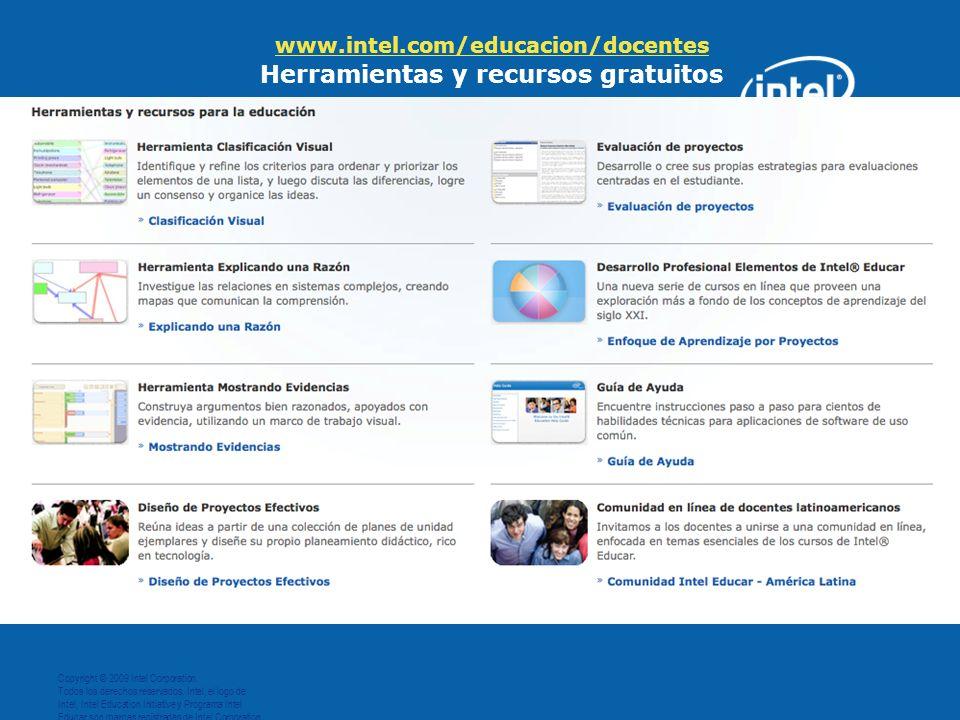 www.intel.com/educacion/docentes Herramientas y recursos gratuitos