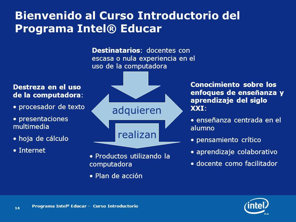 Bienvenido al Curso Introductorio del Programa Intel® Educar