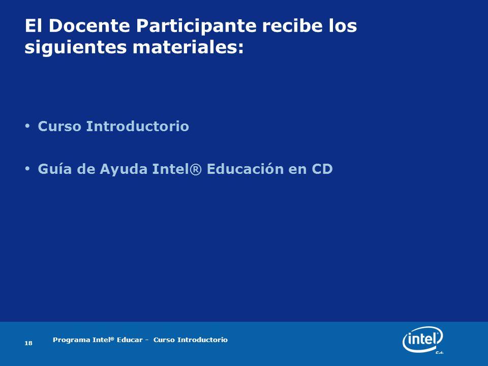 El Docente Participante recibe los siguientes materiales: