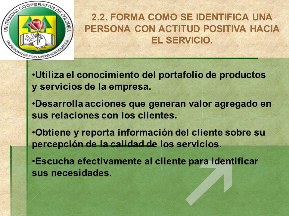 2.2. FORMA COMO SE IDENTIFICA UNA PERSONA CON ACTITUD POSITIVA HACIA EL SERVICIO.