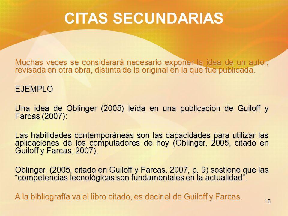 CITAS SECUNDARIAS