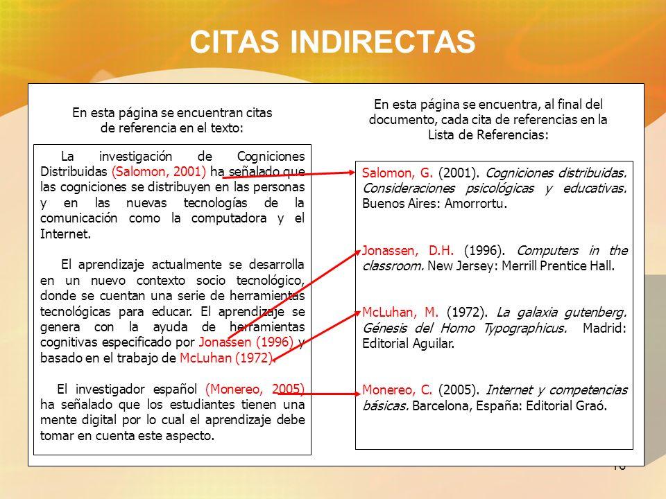 CITAS INDIRECTAS En esta página se encuentran citas. de referencia en el texto: