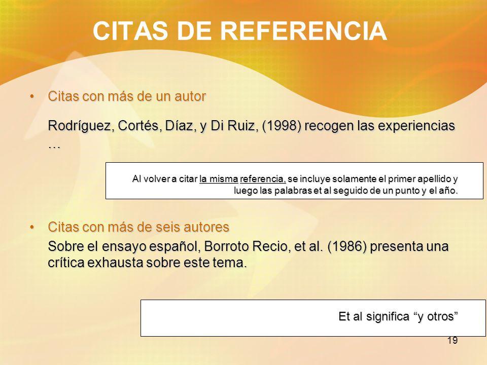CITAS DE REFERENCIACitas con más de un autor. Rodríguez, Cortés, Díaz, y Di Ruiz, (1998) recogen las experiencias …
