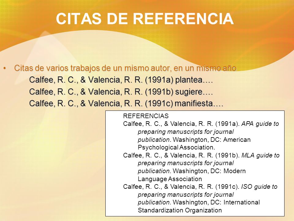 CITAS DE REFERENCIACitas de varios trabajos de un mismo autor, en un mismo año. Calfee, R. C., & Valencia, R. R. (1991a) plantea….