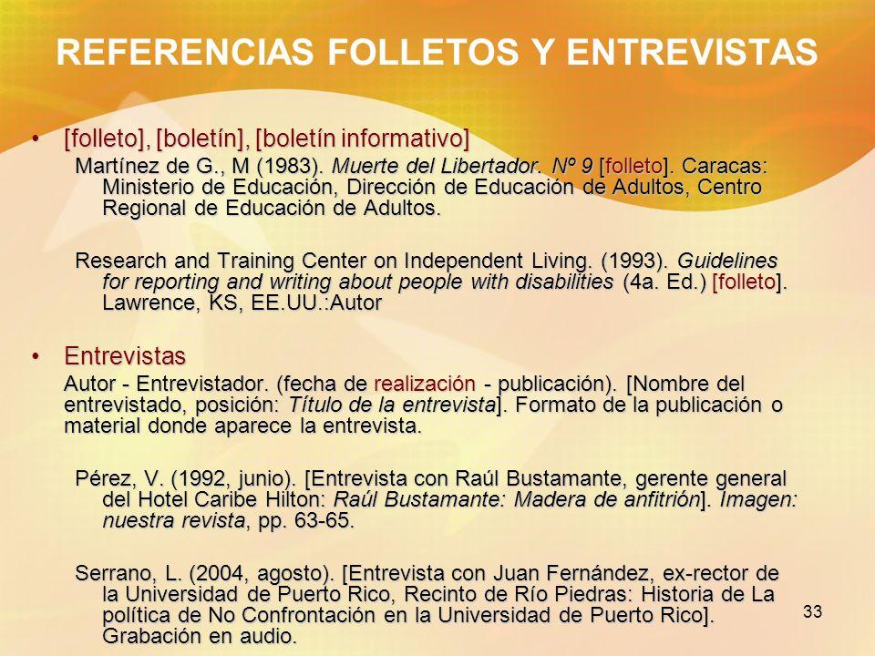 REFERENCIAS FOLLETOS Y ENTREVISTAS