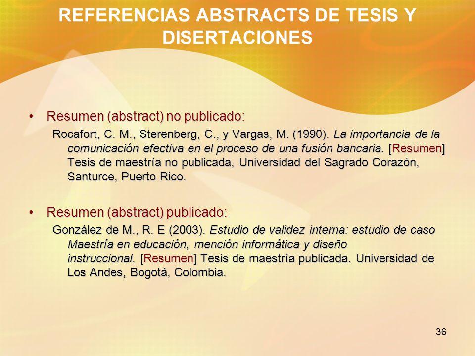 REFERENCIAS ABSTRACTS DE TESIS Y DISERTACIONES