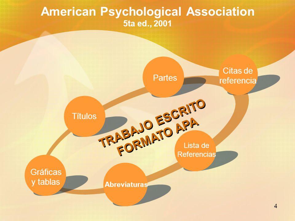 American Psychological Association 5ta ed., 2001