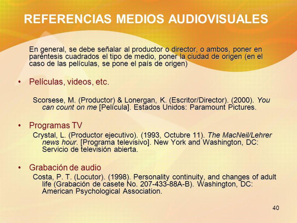 REFERENCIAS MEDIOS AUDIOVISUALES