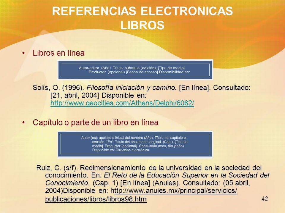 REFERENCIAS ELECTRONICAS LIBROS