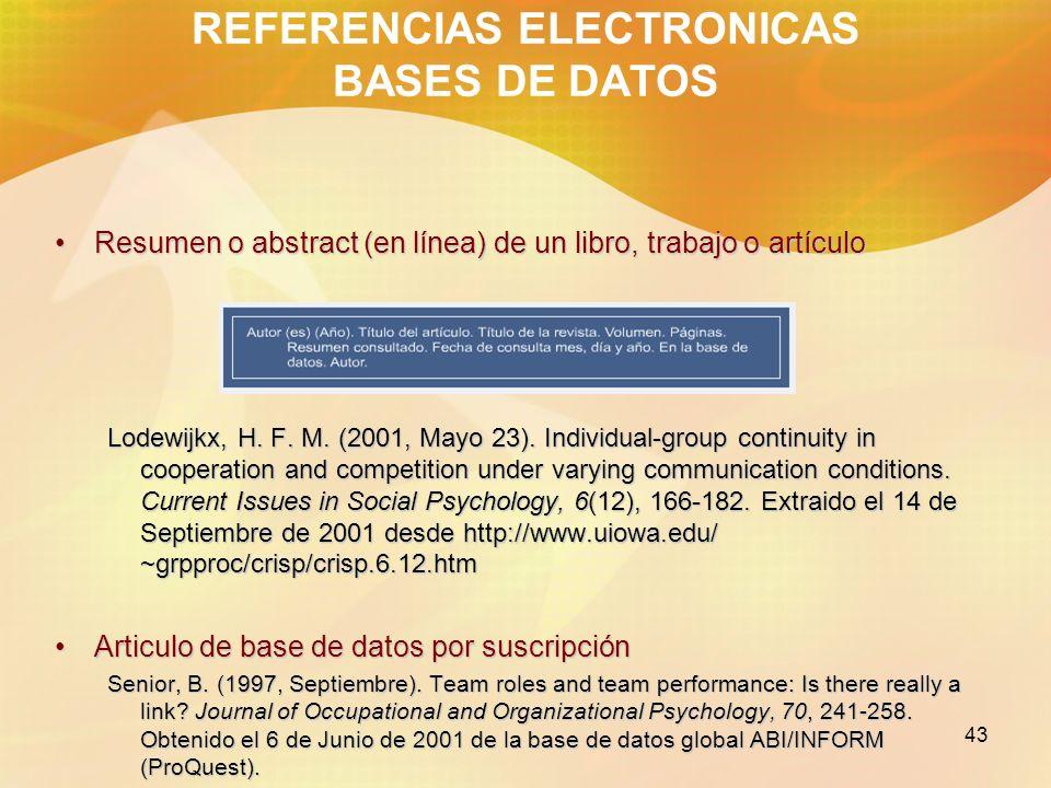 REFERENCIAS ELECTRONICAS BASES DE DATOS