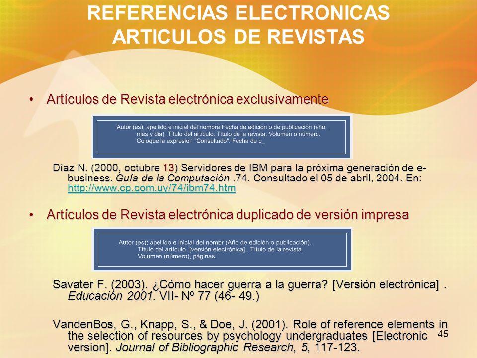 REFERENCIAS ELECTRONICAS ARTICULOS DE REVISTAS