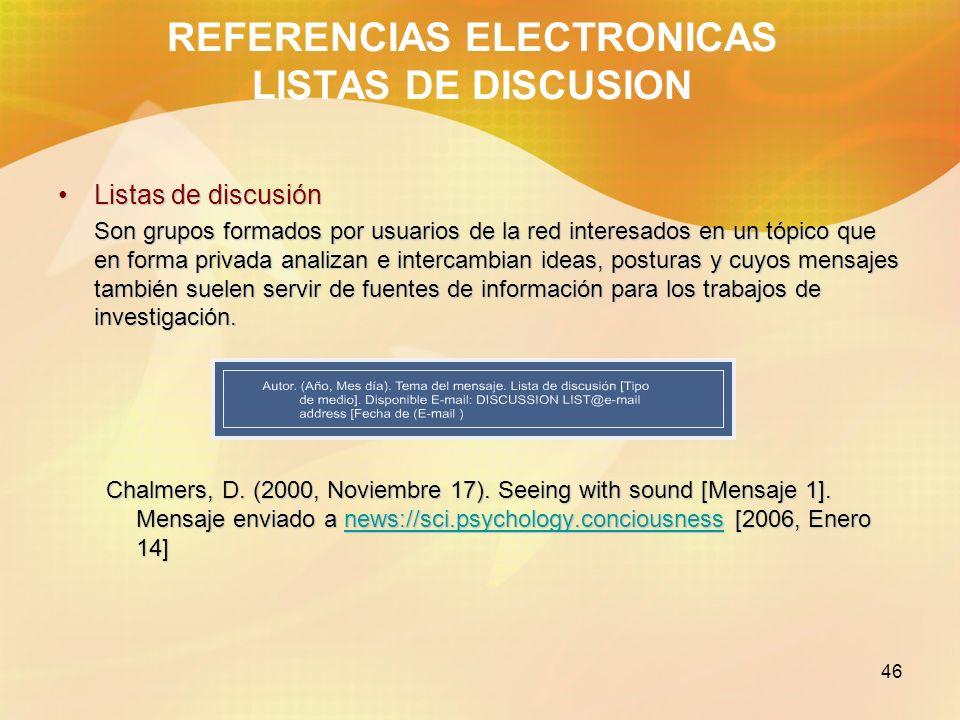 REFERENCIAS ELECTRONICAS LISTAS DE DISCUSION