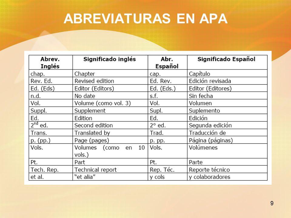 ABREVIATURAS EN APA