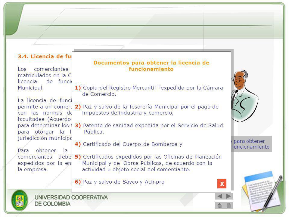 Documentos para obtener la licencia de funcionamiento