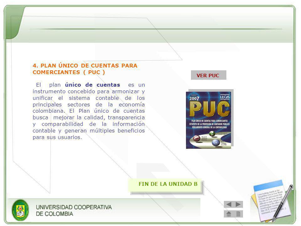 4. PLAN ÚNICO DE CUENTAS PARA COMERCIANTES ( PUC )