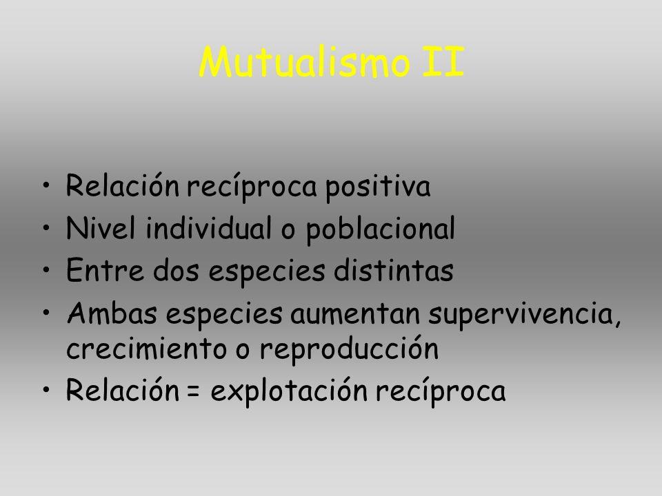 Mutualismo II Relación recíproca positiva