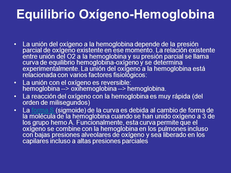 Equilibrio Oxígeno-Hemoglobina