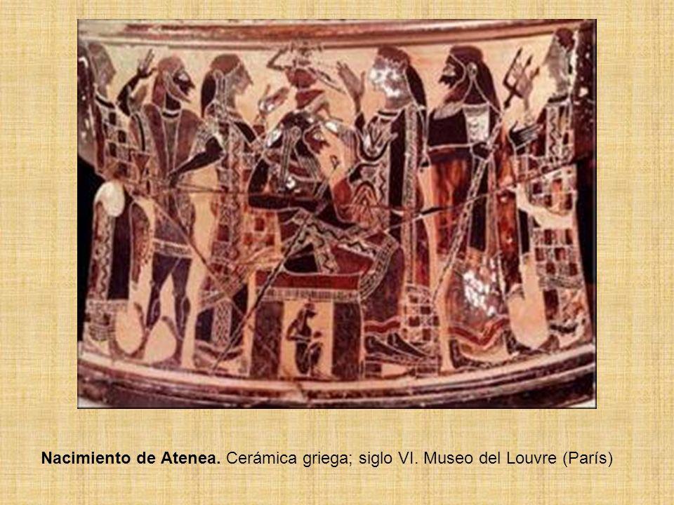 Nacimiento de Atenea. Cerámica griega; siglo VI